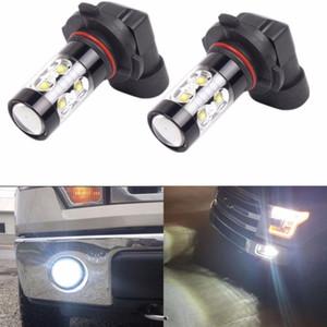 2PCS 12V H10 9145 LED Araç Sis Işık 50W yüksek güç Projektör DRL Sürüş Lambası 6000K Beyaz