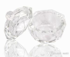 둥근 모자 액체 반짝임 분말 캐비어 못 예술품을 가진 아크릴 수정같은 유리제 Dappen 접시 그릇 컵