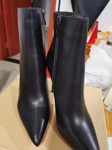 2020 nueva de cuero rojo Negro con puntas puntas de los pies para mujer de las botas del tobillo del diseñador de moda de las señoras atractivas inferiores rojos de los altos talones Bombas