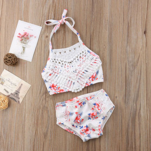 Merletto della ragazza 2Pcs del bambino del bambino floreale Crochet Swimwear costume da bagno Bikini Swimsuit stabiliti dei capretti estate delle ragazze Biquini Tankini Monokini