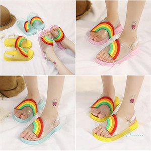 Fashion Summer Kids Sandals Cartoon Rainbow Candy Fish Head Sandals With Buckle Strap Soft PU Bottom Slippers Child Beach Shower ShoesA51302