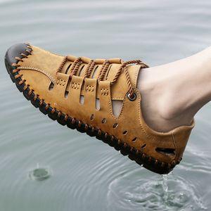 2019 New Male Shoes Genuine Leather Men Sandals Summer Men Shoes Beach Sandals Handmade Big Size Outdoor Casual Shoes Men Flats