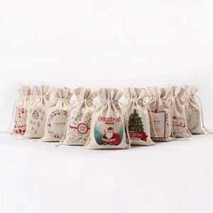 15styles Weihnachtstasche Tunnelzug-Geschenk-Beutel-Segeltuch-Süßigkeit-Speicher-Beutel Karikatur Print Organizer-Taschen Santa Sack Kinder Pouch Dekor prop FFA3108