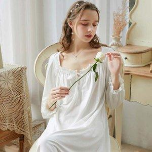 Wasteheart Mulheres Moda Branco Azul Sexy Pijamas camisola de algodão Lace Nightwear Sleepshirts longo luxo Nightgown Tribunal Vestido