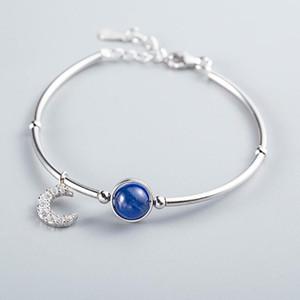 joyería de las pulseras de plata S925 cianita pulseras simples de la luna para la mujer caliente de la manera libre del envío