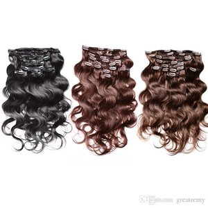 #1#2#4 Cheap Brazilian Body Wave Clip In Hair Extensions Remy Human Hair Weaves 20-24inch Top Quality Clip Human Hair Extensions 120g set