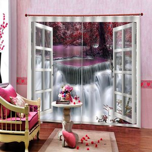 Mangrove Forest River Waterfall Curtain Digital Print For Living room Bedroom Blackout Window Drapes Decor Sets (Left and Right Side)