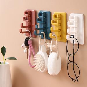 ABS Seamless Creative Rotatable Strong Stick Hook Kitchen Bathroom Hook Wall Hanging Nail-Free Door Hooks Storage Racks