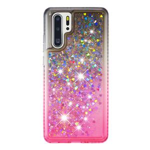 2021 Heißer Verkauf Anti-Abfall-wasserdichte Side-Bohrer plus Farbverlauf-Farbe Quicksand TPU-Handy-Kasten für Huawei p30Pro