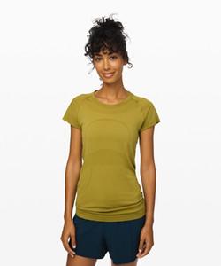 LU-57 New verão yoga Tops Mulheres Sólidos Rapidamente T-shirt Corredor da ginástica roupa da aptidão Sports Workout funcionamento camiseta equipe de técnicos de manga curta