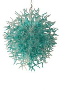 Lámparas Custom Crystal Chandelier Iluminación Tiffany Blue Transparente al por mayor Mano Florada Lámpara de vidrio Colgante Colgante Luces