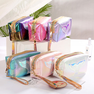 Sacos de maquiagem bolsa cosmética amor bolsa de viagem PU sacos letra letra holograma lantejoulas saco cosmético maquiagem sacos de armazenamento de grande capacidade impermeável