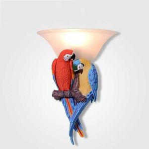 Neue europäische wandleuchte farbe papagei harz wandleuchten moderne kreative wandleuchte für wohnzimmer schlafzimmer