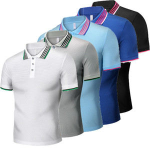 Mens Breathable Summer Polo T-shirt Fashion Short Sleeve Tees Colorful Clothing Regular Thickness Soft Polo T-shirt Slim Tees