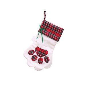 Dog Paw'S Pet Plaid Animal Shape Christmas Stocking Candy Gifts Bag Christmas Tree Decoration