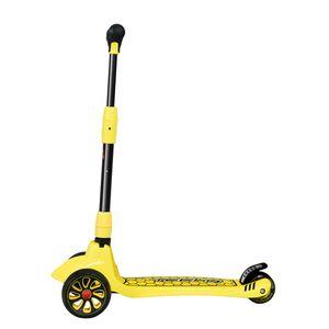 Fold Aluminum 3 LED Light Up Wheel Kids Kick Scooter Adjustable Height Yellow