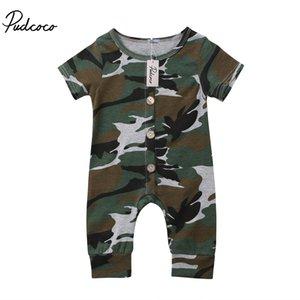 Summer Infant Newborn Baby Boy manica corta Camo pulsante tuta pagliaccetto vestiti di cotone Outfit bambino Dropshipping Abbigliamento