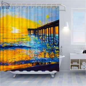 Belle peinture à l'huile Art Poliban d'or Lumière du soleil Cocotier Salle de bain Rideau Décor Mouette blanche nuages et la mer Bath Rideau