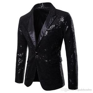 Button V Neck paillettes partito unico Mens Blazer Moda Panelled Magro Mens Club Cappotti