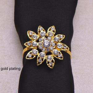 (J0428-with Ring) 100 قطعة / الوحدة أنيقة الزفاف زهرة حجر الراين حلقات منديل، حاملي منديل، مع 40 ملليمتر حلقة، الفضة أو الذهب تصفيح سعر المصنع خبير جودة التصميم