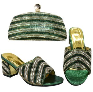 Nigerian Shoes With Matching Bags Set African Women's Party Shoes and Bag Sets Green Color Women High Slipper And Handbag