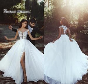 2019 Chiffon Bride Lace Dress Hight Split Beach Sexy Sleeveless Backless Evening Wear Formal Gown High-end Wedding Boutique