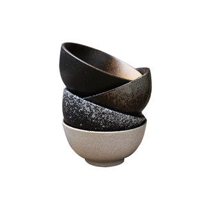 Artesanal Tigela de Arroz Japonês 4.5 polegada Tradicional Restaurante Asiático Tigelas De Cerâmica Jateado Floco De Neve Salpicado Branco Metálico Preto