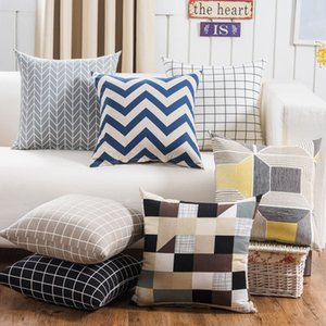 450x450mm Striped Pillowcase Geometric Throw Cushion Pillow Cover Printing Cushion Pillow Case Bedroom Office VT0095