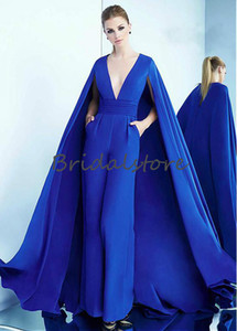Dubai Royal Blue Tute Abiti da ballo con cappuccio profondo scollo a V buco della serratura abiti formali con tasca abiti da sera eleganti accappatoi di soirée