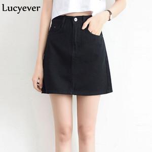 Été Lucyever Mode coréenne Femmes Denim Jupe taille haute noir Minijupes Paquet Hip Blue Jeans Harajuku Plus Size Cotton