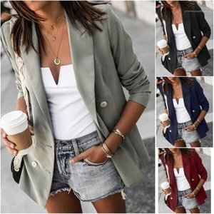 Patchwork Solid Color Long Sleeve Designer Coats Casual Women Clothing 20FW New Blazers Fashion Lapel Neck