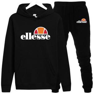 Ellesse Mens Tasarımcısı eşofman Beyaz Siyah Gri% 100 Pamuk Orijinal Erkekler Moda Sonbahar Uzun Kol Kapşonlu Sweatshirt + uzun pantolon S-3XL