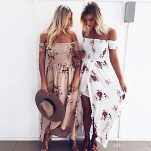 Women Boho Style Long Dress Off Shoulder Beach Summer Dresses Floral Print Vintage Chiffon Maxi Dress Vestidos De Festa