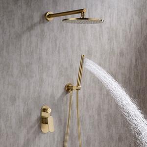 Gebürstetes Gold Badezimmer Dusche Set 8-10 Zoll Rianfall Duschkopf Wasserhahn Wandmontage Dusche Arm Mischbatterie Umsteller