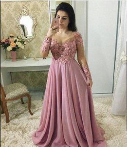 Fashion Lace Mother Of The Bride Dresses With Long Sleeves Sheer Jewel Neck Wedding Guest Dress Chiffon Beaded Plus Size Evening Gowns