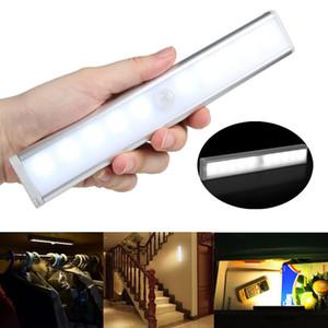 Détecteur de mouvement Nuit Lumière Potable 10 LED Placard Lumières Alimenté Par Batterie Sans Fil Cabinet IR Infrarouge Détecteur De Mouvement Mur Lampe 20pcs AAA1905