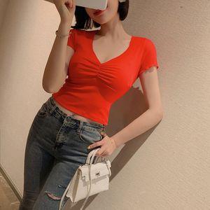 2020 summer cross border women's super fire Tight Sexy V-neck collarbone top short sleeve casual T-shirt 3921