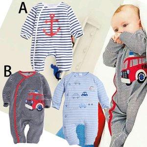 2020 New Fashion Newborn Baby Ropmer Cartoon Car Long Sleeve Baby Boy Girl Clothes Cotton Sleepwear Rompers