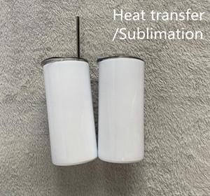Sublimation transfert de chaleur 15 oz 450ml sec maigre sec mince avec de la paille métallique à double paroi en acier inoxydable