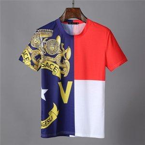 Мода роскошных дизайнеров Мужчины футболки Для Мужские футболки с буквами крупногабаритные с коротким рукавом Мужские футболки Medusa T Shirt Одежда