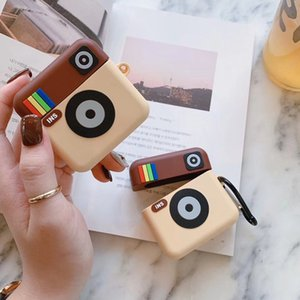 Mini Camera Earphone Cases For Airpods 1 2 Silicone Wireless Charger Box Accessories Earphone Protector With Hook