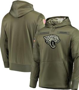 2020 Men Jacksonville Sweatshirt Hoodies Olive Salute to Sideline Therma Performance Pullover Hoodie Olive Hoodies