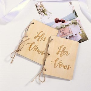 2Pcs Wooden Wedding Vow Books His And Her Vow Books Kraft Paper Booklet Vow Notebook For Gift Journal Wedding Supplies