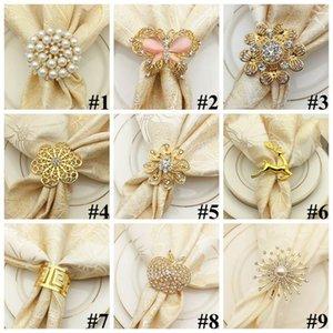 Buckle Styles Patificado en oro Servilleta NAPKIN CCA11543 Ciervos 9 Tabla de anillo Pearl Newest Anillo de flores Mariposa Decoración Aleación 100pcs GBPWI