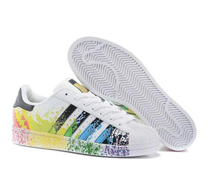2019 beliebte Super Star White Hologramm schillernden Junior Superstars 80er Jahre Stolz Womens Mens Trainer Turnschuhe Freizeitschuhe Größe 35-44