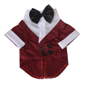Pug İçin AHUAPET Tuxedo Köpek Suit Köpek Tuxedo Kostüm Big Köpekler Coat Stripes Giyim Pet Giyim Y200328 İçin Büyük Giysiler ceket elbise