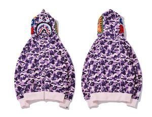 20SS Mens конструктора Толстовки A Bathing Ape Мужчины Женщины Конструктор Фиолетовый Camouflage Jacket Mens высокого качества вскользь фуфайки Размер M-2XL