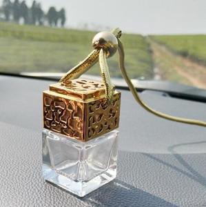 مربع الشكل زجاج سيارة زجاجات العطور قلادة 6ML عطر فارغة معلقة السيارات الناشر زجاجة دي إتش إل الحرة YYSY425