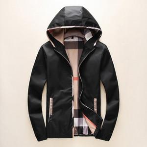 Chaquetas para hombre del diseñador otoño e invierno Nueva capucha cremallera chaqueta de punto chaqueta de tendencia temperamento de la manera simple color sólido Escudo Burrbberry