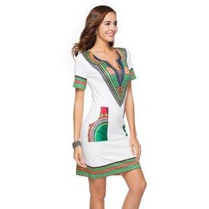 Kadın Elbise Kısa Etek Kadın Giyim Baskı Halk Özel Sıkı Etek Kısa Kollu V Boyun Elbise 41
